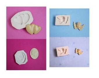 Lot 4 moules en silicone coeurs bijou camée et anges pour décoration loisirs créatifs