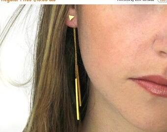 20% off. Jacket Earrings. Bar Earrings. Triangle Earrings. Geometric Earrings. Minimal Earrings. Bar and chain Jacket earrings.