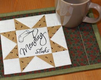Sewing Sayings Mug Rug, Cotton Fabric Coaster, Quilted mug mat