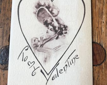 "1908 ""To My Valentine"" Vintage Valentine's Lovely Lady Postcard"