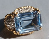 30% OFF SALE Panetta Designer Sterling Silver with Gold Plate Blue Topaz Crystal Rhinestone Cocktail Ring
