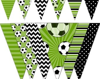 Soccer Banner, Baby Shower Printable Banner, Soccer Party Pennant Banner, Birthday Photography - Instant Download - DP435