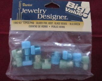 Silver foil asst. glass beads, blue/green