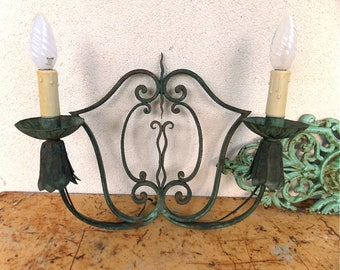 Large French Antique Wrought Iron Wall Light Sconce Gothic Medieval Design 1930s