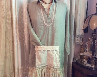 Gray Linen Tunic, front pocket, linen shirt top, plain linen top, loose fitting shirt, MEDIUM