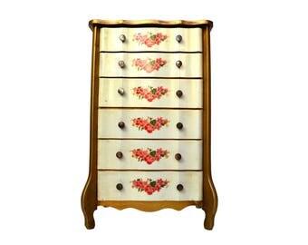 Vintage Small Chest of Drawers Jewelry Box, Six Drawer Jewelry Dresser, Victorian Apco Japan Storage