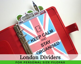 Personal Size Cute Kawaii London DIY Dividers 5 Top Tabs for Filofax Organizer Planner Printable PDF Instant Download