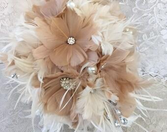 Cascade wedding bouquet,Feather Bridal bouquet,Champagne Wedding bouquet,Brooch bouquet,Alternative bouquet,Gatsby wedding,Champagne bouquet