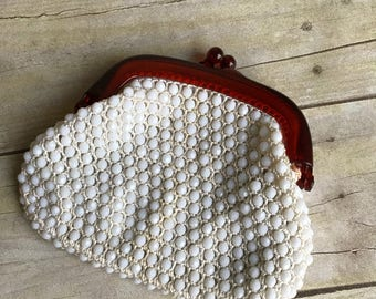 Vintage Beaded Wallet - White Coin Purse