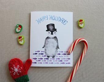 Christmas card set, Holiday card set, Penguin Christmas card, Merry Christmas cards, Cute Christmas cards, Happy holidays cards, Card pack
