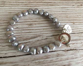 Pearl Bracelet Silver Grey Fresh Water Pearls with toggle clasp UK made