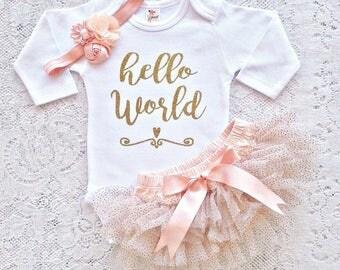 HELLO WORLD Outfit, baby newborn take home set, gold glitter bodysuit, chiffon glitter tutu bloomer & headband set Baby girl 0-18 mths