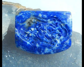 Carved Lapis Lazuli Flower And Dragonfly Gemstone Pendant Bead,44x35x11mm,37.2g