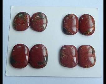 4 Pairs Multi-Color Picasso Jasper Cabochon,25x19x5mm,21x18x5mm,28.7g