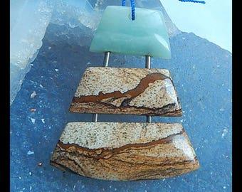 Design Pendant,Amazonite,Picture Jasper Intarsia Gemstone Pendant Bead,46x39x6mm,12.9g(P071)