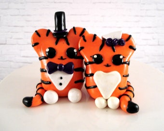 Tiger Wedding Cake Topper Bride and Groom Wedding Decoration Grooms Cake Engagement Party Bridal Shower