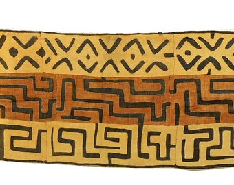 Kuba Textile Appliquéd Raffia Brown and Tan Congo 13 Feet African Art 100090