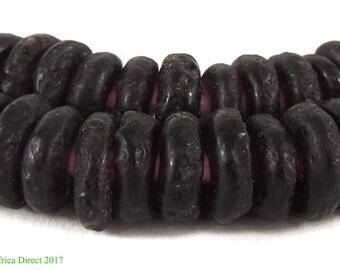 Krobo Beads Recycled Glass Rings Disks Black Ghana Africa 117461