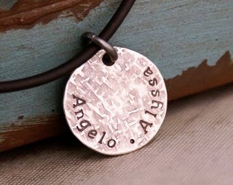 Gift for Dad / Kids Names Necklace / Hand Stamped Sterling Silver Name Tag / Personalized Jewelry for Him / Father's Day Gift