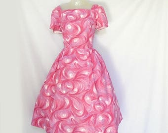 Plus Size 50s Dress is Fit and Flare, a Big Skirt Dress, Mid Length Dress, Garden Party Dress in Pink Cotton Cupcake Dress for Summer