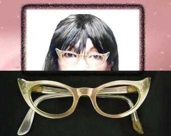 50s Glasses Frames, 1950s Cat Eyeglasses, Cats Eye Glasses, Lucite Moonglow, Cat Eye Glasses, 50s Cateyes, Extreme Cat Eye Glasses with Case