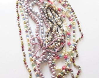 On Sale Purple Necklace Lot Mixed Lot of Purple Beaded Necklaces Mardi Gras Beads Shell Jewelry