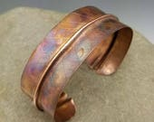 Reserved for JoAnn B  Flame-painted copper leaf cuff