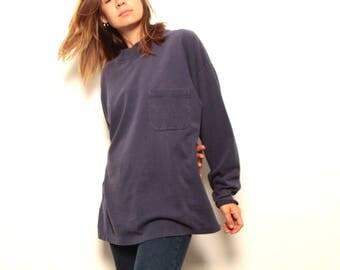 vintage MOCK turtleneck faded navy blue long sleeve mid 90s goth daria shirt