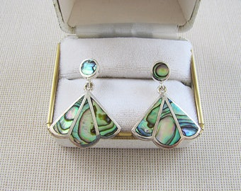 Inlaid Mother of Pearl sterling silver earrings, Iridescent MOP Fan Shaped Earrings