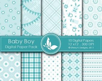 40% off Baby Boy Paper Pack - 10 Digital paper - 12 x12 - 300 DPI