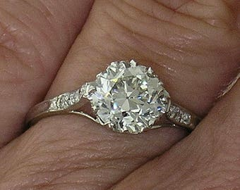 DIAMOND ENGAGEMENT RING~Vintage 1.32ct European cut Diamond Ring, Circa 1910