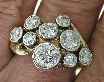 DIAMOND CLUSTER RING~Bold Diamond Cluster Ring, Circa 1980