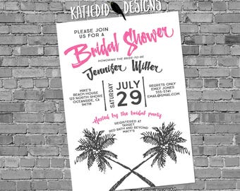 tropical wedding invitation Couples Bridal Invitation rehearsal dinner stock the bar save the date postcard palm tree 372 Katiedid Designs
