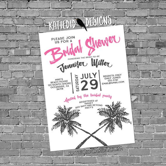bridal shower invitation palm tree rehearsal engagement rustic chic 372 retirement couples baby shower sprinkle birthday beach theme wedding
