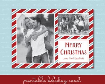 Candy Cane Holiday Card with Photo