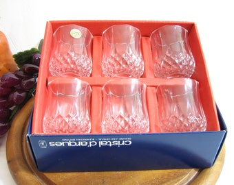 "Vintage LONGCHAMP Shot Glasses, Cristal D'Arques Durand Set of 6, NOS Vintage ... Lead Crystal 2 1/4"" ... Liquor, Barware"