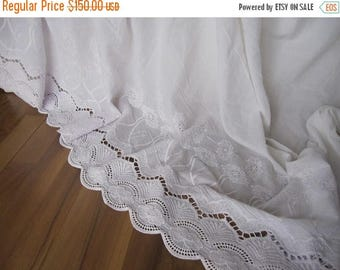 Sale Lace bedskirt - Ivory off white eyelet lace cotton Dust ruffle - QUEEN KING Bed skirt scalloped edge - shabby chic romantic elegant bed