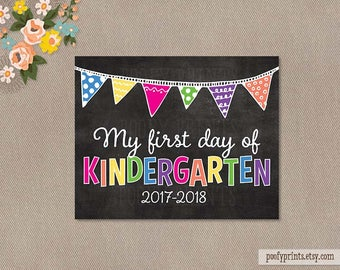 First Day of Kindergarten Chalkboard Printable Sign - 8 x 10 Printable First Day of School Sign - INSTANT DOWNLOAD - 505