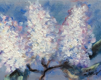 White Lilacs Painting lilacs flowers original floral painting on canvas panel 5 x 7