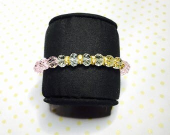 Stackable Bracelet, Pink & clear crystals, stretchy, beaded, layering, handmade, item no. L434