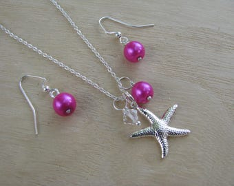 Fuchsia Bridesmaid Jewelry Necklaces and Earrings Hot Pink Pearl Wedding Jewelry Starfish Necklaces Beach Wedding