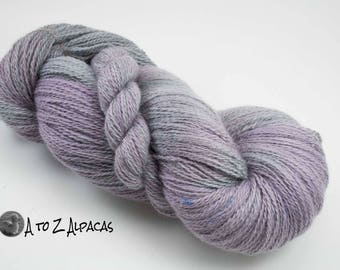 Hand Dyed Royal Baby Alpaca Yarn Sock Weight - Purple Haze