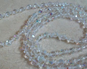 Vintage crystal rope necklace, long, aurora borealis crystal, clear ab, single strand, simple, boho chic