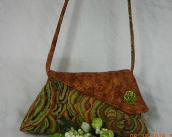 Quilted  Shoulder Bag - Brown and Green Natural Abstract - Small