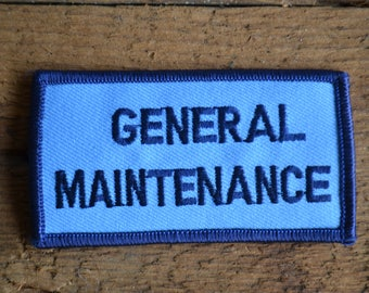 Vintage Work Reclaimed Embroidered Blue Maintenance General Maintenance Badge Patch