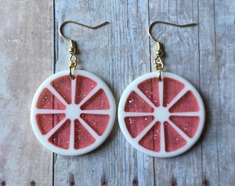 Adorable pink grapefruit earrings