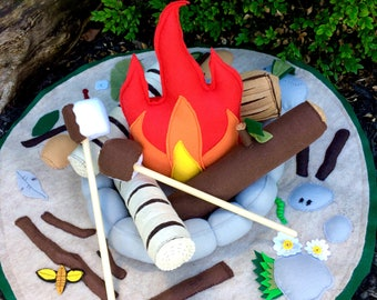 Felt Campfire and Playmat Set
