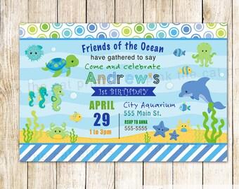 Aquarium Invitation - Under The Sea Birthday Invitation Kids Aquiarium Birthday Party Invitation Under The Sea Animals Invitation Kids Party