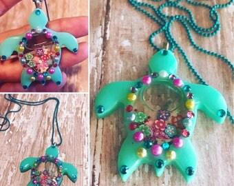 Turtle Liquid Resin Shaker Necklace