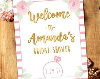 Bridal Shower Welcome Sign*Wedding*Faux Gold, Pink, White*Custom*Digital File*Printable